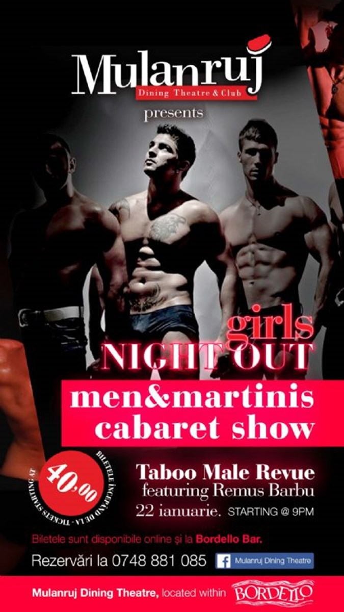 Mulanruj Dining Theatre - Men & MARTINIS - Taboo Male Revue